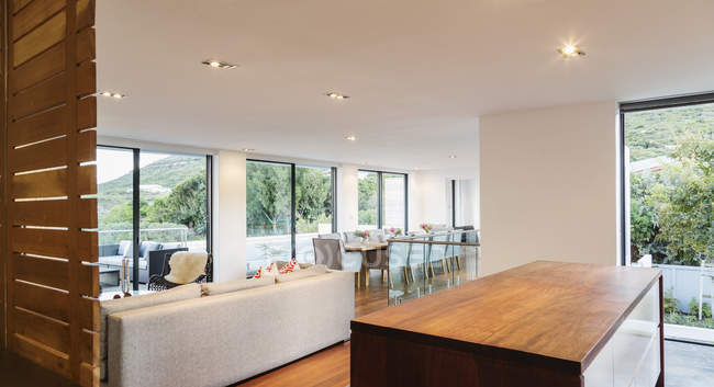 Moderno, cucina di lusso home Vetrina interni, soggiorno e sala da ...