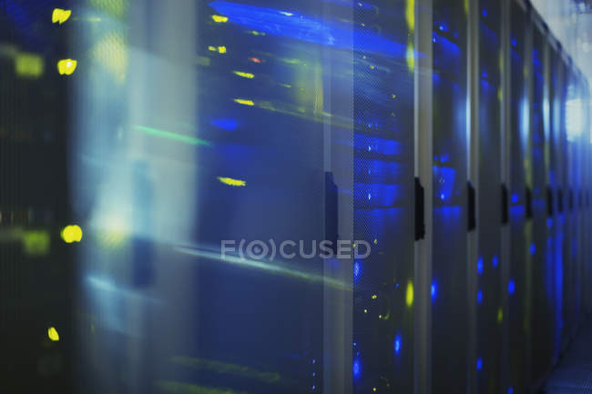 Blurred lights in server room — Stock Photo