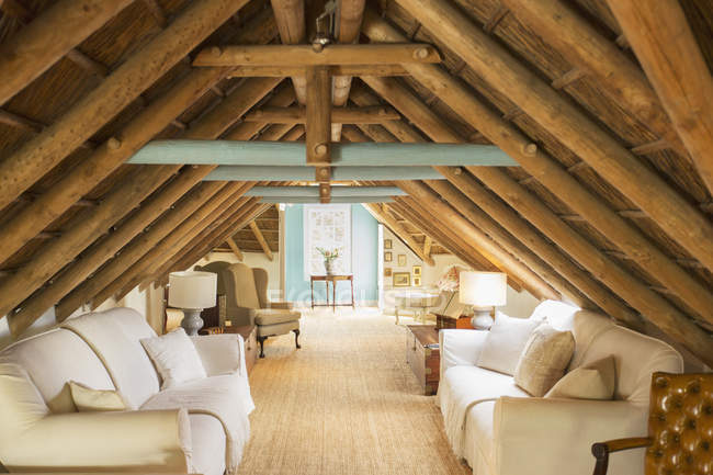 Luxury attic living room — Stock Photo