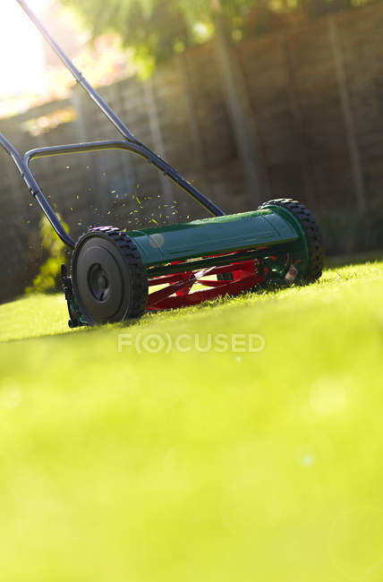 Close up of lawnmower on green lawn — Stock Photo
