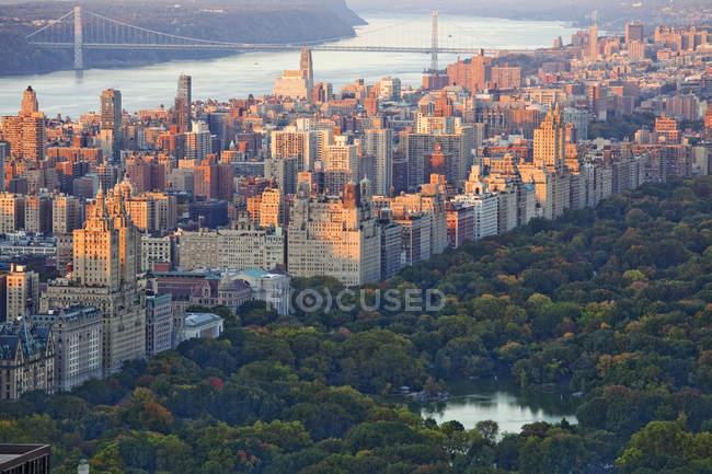 Vista aérea de Central Park, Upper West Side, Nueva York, Nueva York, Estados Unidos - foto de stock