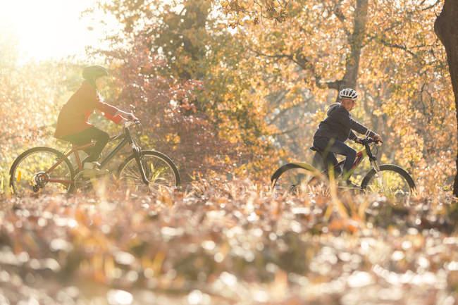 Мальчик и девочка катаются на велосипедах в осенних листьях — стоковое фото