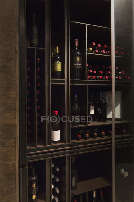 Wine Bottles Organized On Wooden Shelves In Wine Library Home