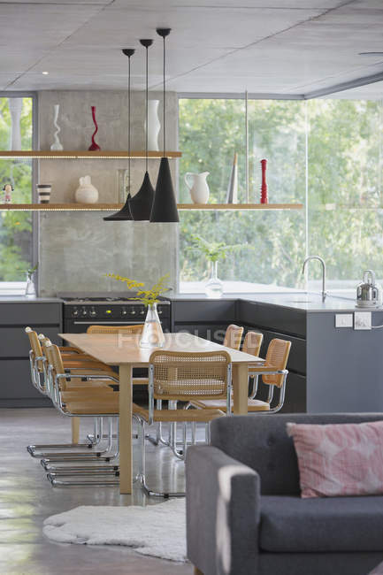 Modern home showcase interior kitchen and dining table — Stock Photo