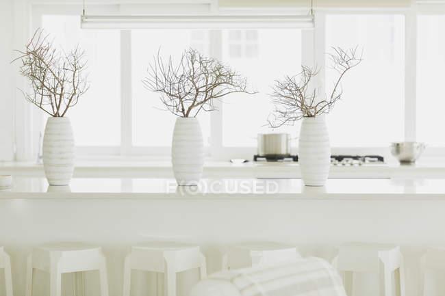 Flores em vasos em casa moderna de luxo — Fotografia de Stock