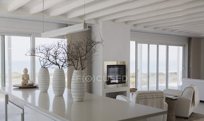 Flowers pots on table at luxury modern house — Stock Photo