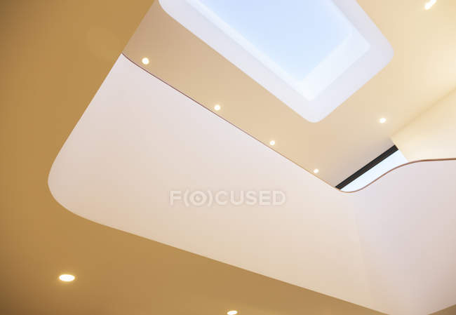 Skylight and recessed lights of modern house — Stock Photo