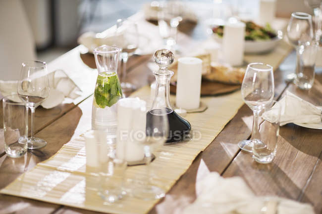 Set Table At Dinner Party Stock Photo