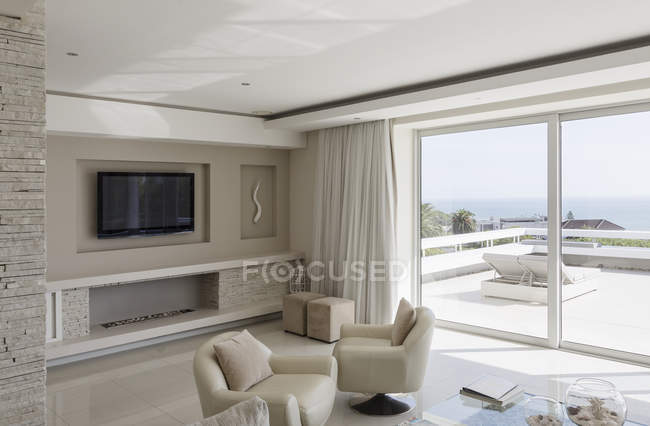 Beige and white modern luxury home showcase interior living room — Stock Photo