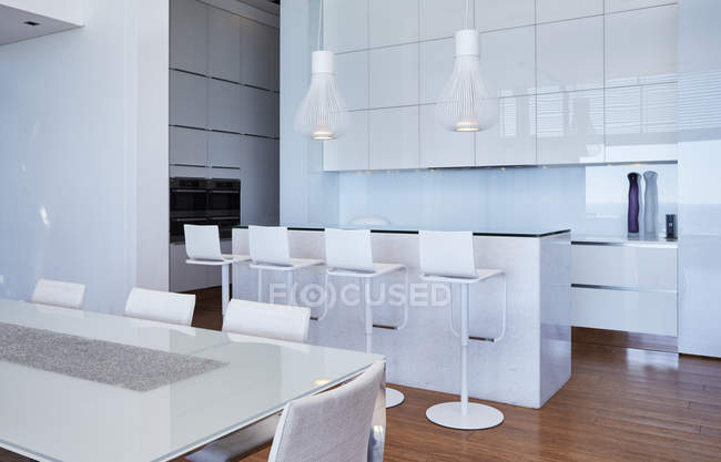 Modern luxury white home showcase kitchen — Stock Photo