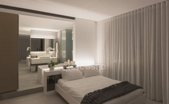 Illuminated Modern Luxury Home Showcase Interior Bedroom