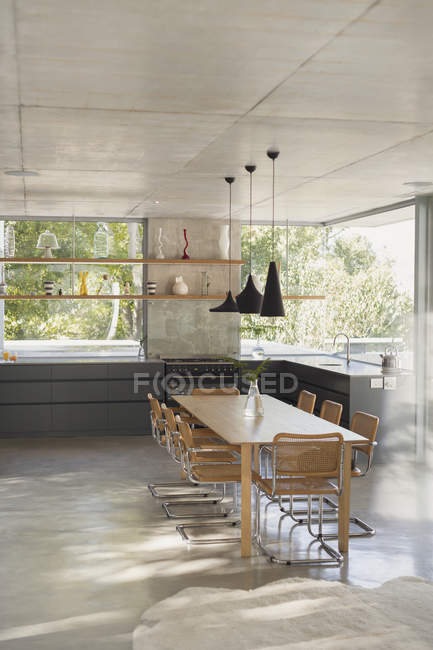 Modern Luxury Home Showcase Interior Kitchen With Dining Table