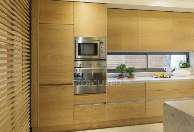 Wood cupboard in home showcase interior kitchen — Stock Photo