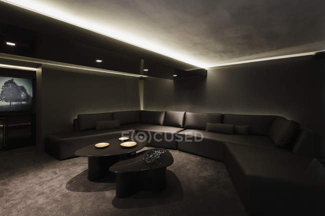 Luxury interior of modern house, home theater — Stock Photo