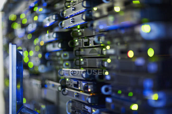 Close up server room rack panel — Stock Photo