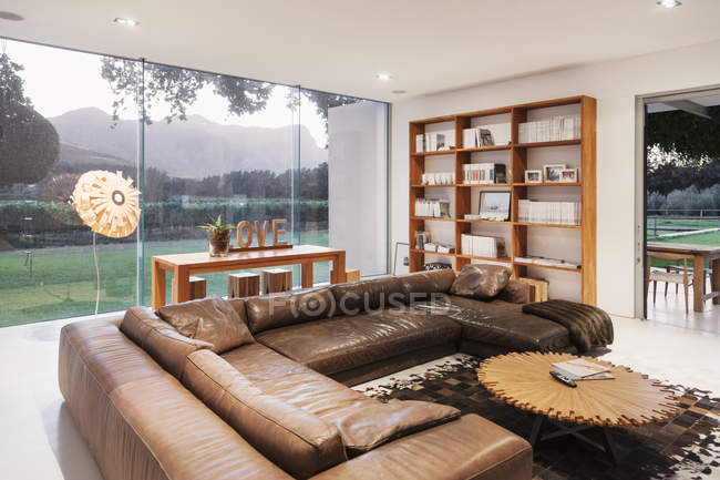 Leather sofas in luxury living room — Color Image, real ...