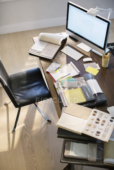 High angle view of interior designer desk — Stock Photo