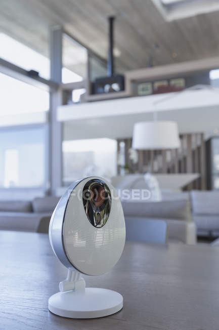 Home security camera on table, closeup view — Stock Photo