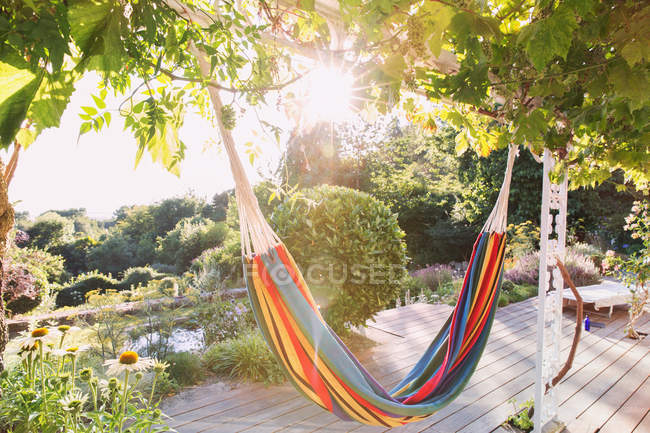 Multicolor hammock hanging from trees in tranquil sunny summer garden — Stock Photo