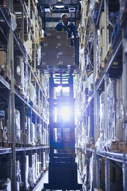 Рабочий штабелировщик вилочных погрузчиков укладывает картонные коробки на полки распределительного склада — стоковое фото
