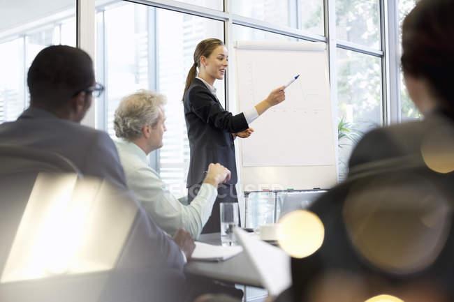 Femme d'affaires au tableau à feuilles mobiles réunion principale dans la salle de conférence — Photo de stock