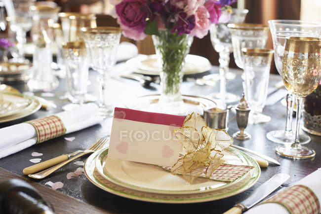 Table set for wedding reception indoors — Stock Photo