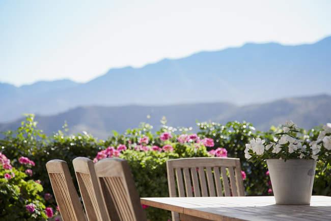 Квіти навколо столу патіо з видом на гори — стокове фото
