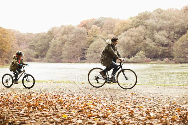 Отец и сын катаются на велосипедах в парке — стоковое фото
