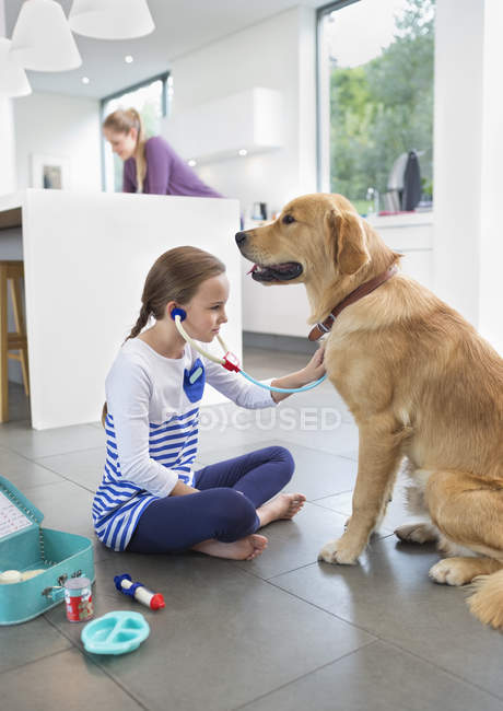 Girl playing doctor with dog in kitchen — Stockfoto