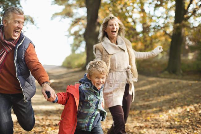 Fröhlicher junge und Großeltern zu Fuß im park — Stockfoto