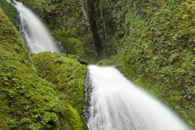 Cascada de acometer sobre la verde ladera rocosa - foto de stock