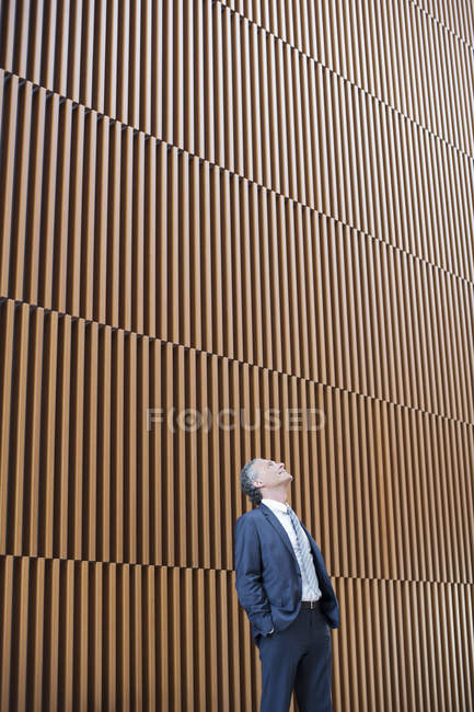 Uomo d'affari guardando in alto — Foto stock