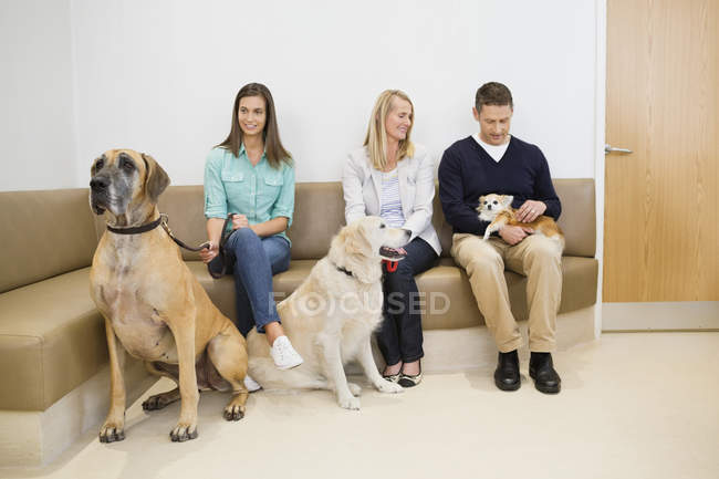 Owners with pet in waiting area of veterinary surgery — Stock Photo