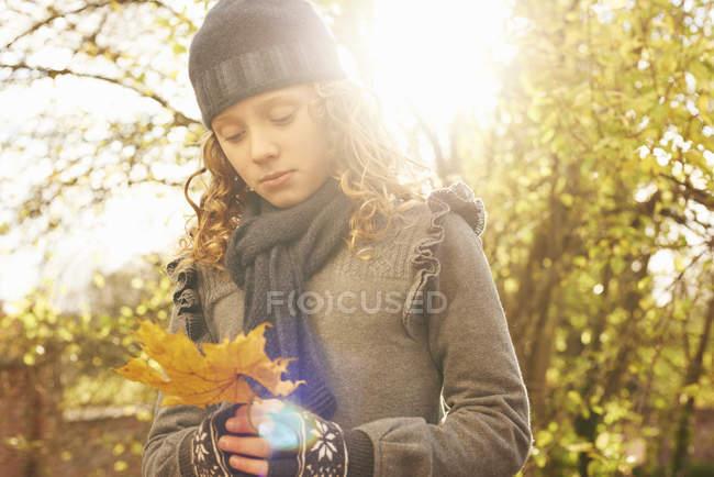 Chica llevando otoño hoja al aire libre - foto de stock