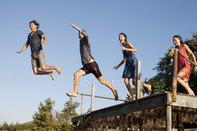 Happy enthusiastic friends jumping off dock — Stock Photo