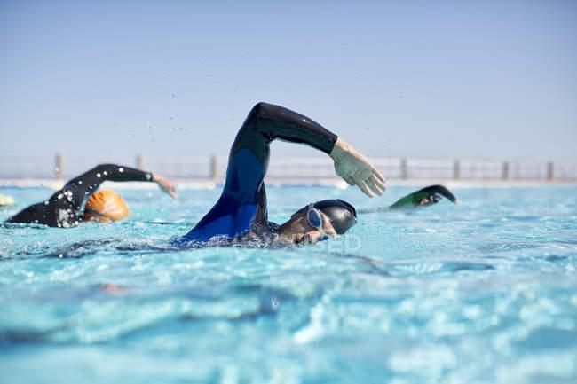 Уверенные и сильные триатлонисты в гонках гидрокостюмов в бассейне — стоковое фото