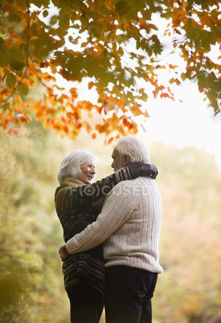 Vista posteriore della coppia più anziana che si abbraccia nel parco — Foto stock