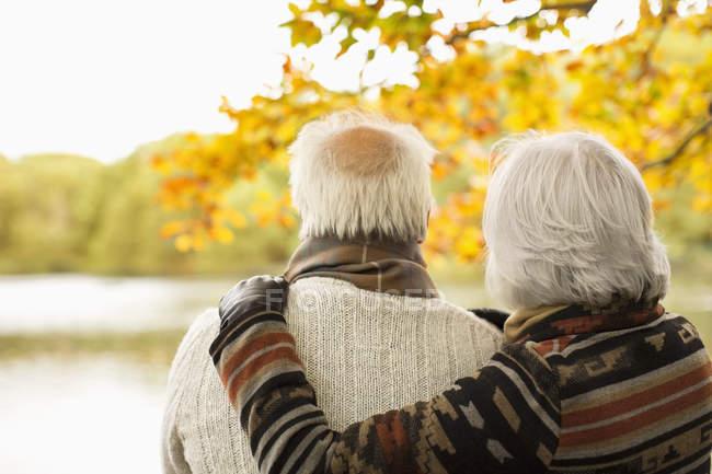 Вид сзади пожилой пары, обнимающейся в парке — стоковое фото