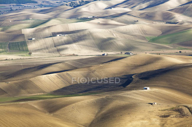 Aerial view of rolling hills in dry rural landscape — Stock Photo