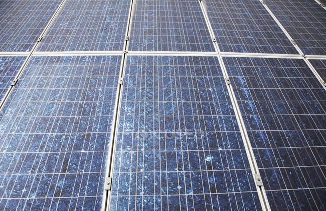 Sun shining on solar panels, full frame — Stock Photo