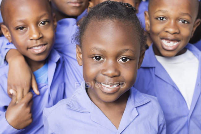 African american students smiling together — Stock Photo
