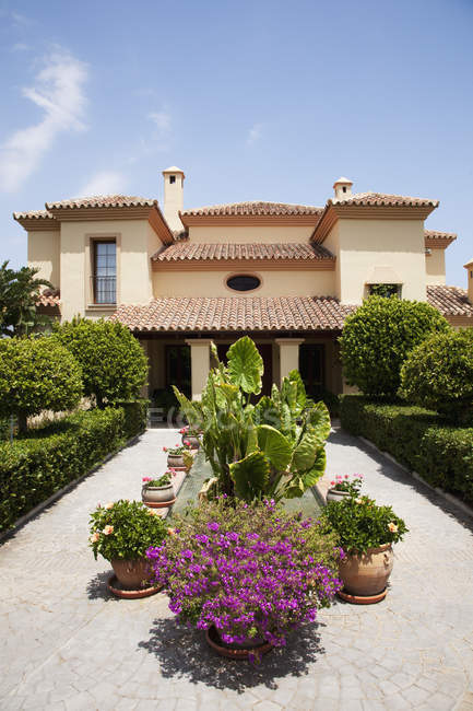 Piante in vaso in giardino formale all'esterno villa — Foto stock