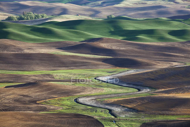 Aerial view of river winding through landscape — Stock Photo