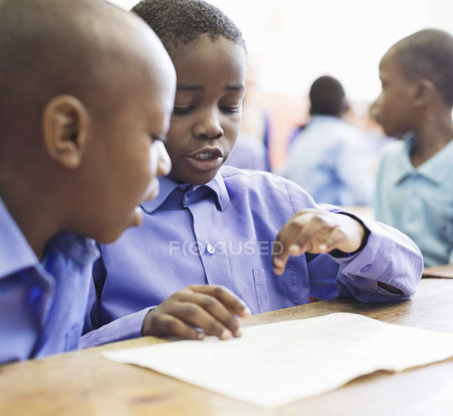 African american students talking in class — Stock Photo