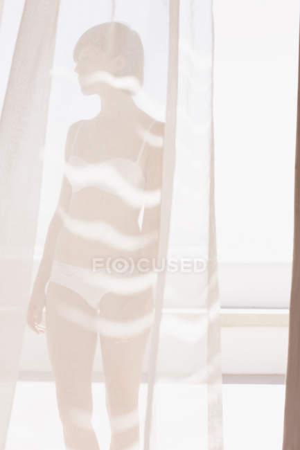 Женщина в бюстгальтер и нижнее белье за Солнечный занавес — стоковое фото