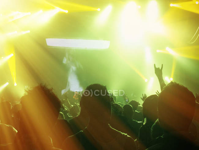 Silhouetted fans facing illuminated stage — Stock Photo