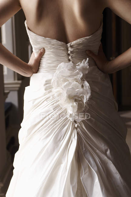 Close up of bride's gown — Stock Photo