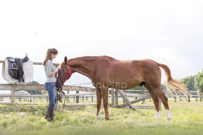 Женщина готовит лошадь для верховой езды на сельском пастбище — стоковое фото
