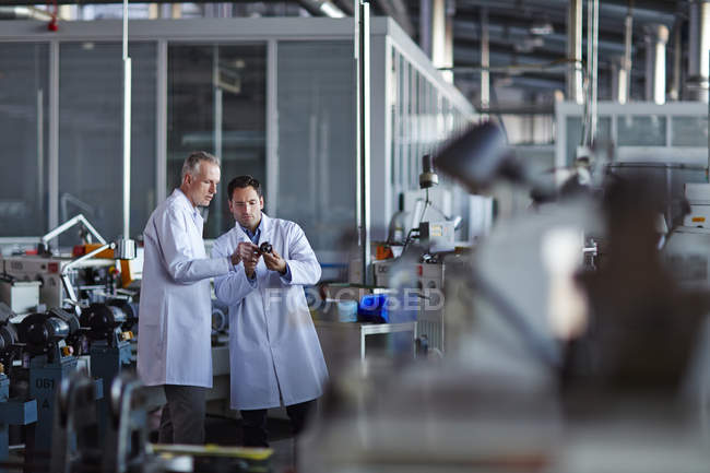 Successful adult scientists working in laboratory — Stock Photo