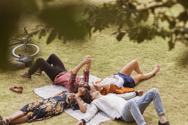 Friends taking selfie laying in circle on blanket in park — Stock Photo